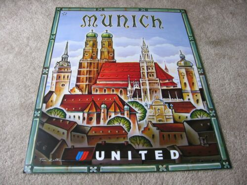 UNITED AIRLINES MUNICH TRAVEL POSTER TIM ZELTNER ORIGINAL UAL ISSUE 2001 NEW