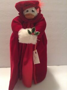 Vintage-Royal-Doll-Duck-Ceramic-Head-and-Shoes-Red-Velvet-Coat-Hat-w-Hand-Muff