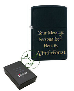 Zippo-Lighter-Black-Matte-Personalised-Engraved-FREE
