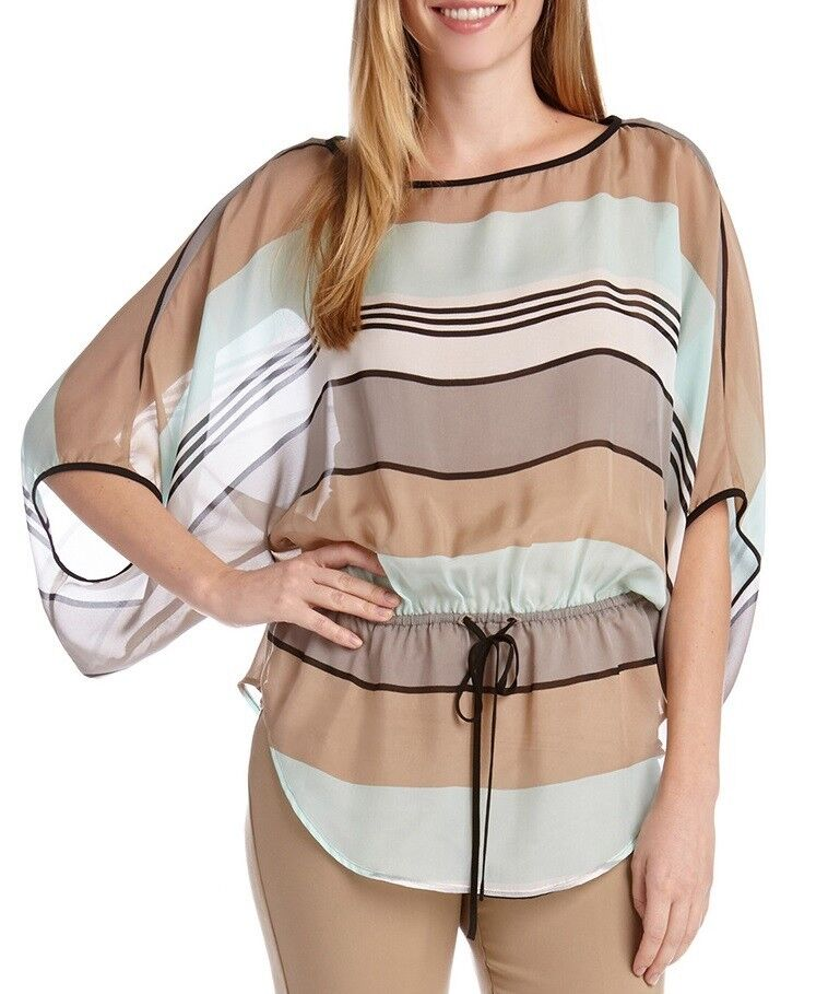Karen Kane 1L50527 100% Silk Mint Khaki Multi Striped Kimono, XS - MSRP