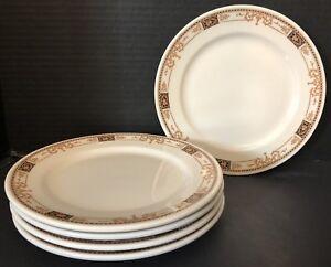 Vintage 8 Plates Syracuse China Gold Black Patterned Rim Set Of 5
