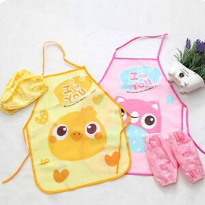 chef-apron-sets-kids-children-cooking-painting-waterproof-gowns-eating-clotU-L-D