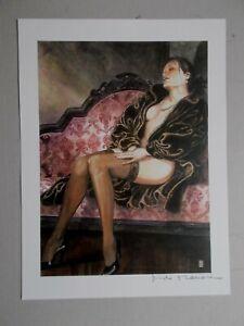 "Milo Manara ( Art Print ) "" Le Sofa "" , Belle signature au crayon"