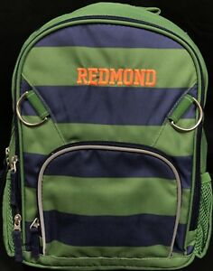 "4da59ebffe Pottery Barn Kids Green Navy Stripe Fairfax Small Backpack ""Redmond ..."