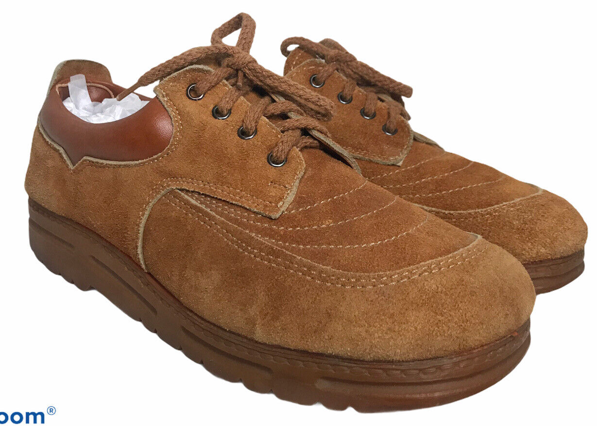 VTG 70's 80's Mens 8.5 Gum Sole Rust Suede Lace Up Hipster Dad Shoes Retro OLD