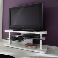 Alana Lcd Tv Stand In White High Gloss With Glass Shelves