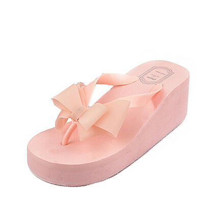 Women Ladies Bow Wedge Heel Sandal Slipper Flip Flop Beach Casual Jelly Platform
