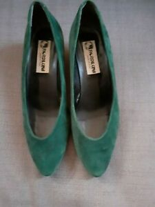 newest collection brand new the best Vintage Fiordiluna dark green suede low heel shoes made Italy size ...
