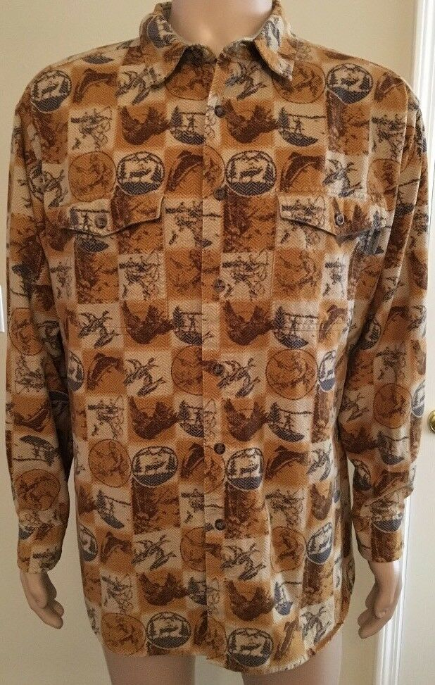 Vintage Woolrich Long Sleeve Button Down Shirt Fishing Huting Pattern Size XL