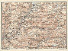 Carta geografica antica DOLOMITI fra ISARCO e MARMOLADA 1920 Old antique map