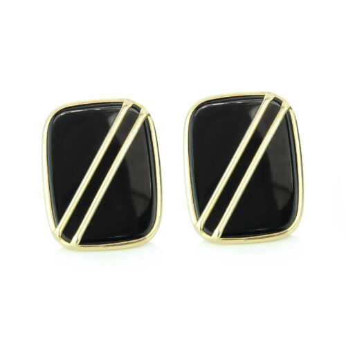 14K Yellow Gold Gemstone Earrings With Onyx