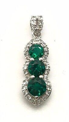 Diamond Double Halo Bail Elegant Pendant Sterling Silver Oval Green Tourmaline