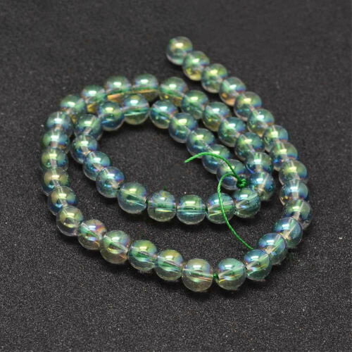 Round Glass Beads 8mm 1 Strand 51 Beads BD1209 Electroplated Green