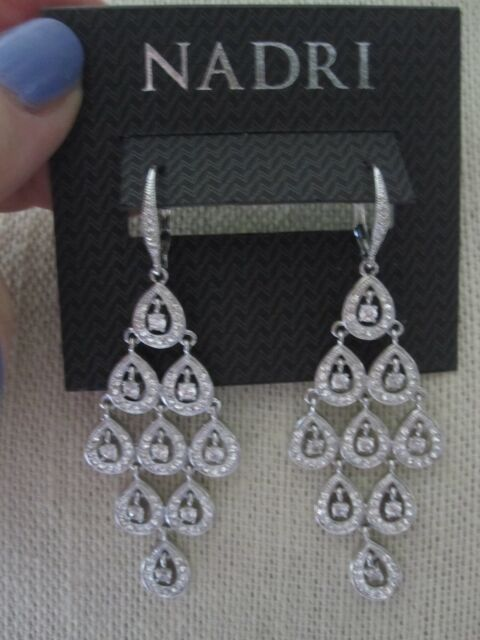 Nwt Nadri Gorgeous Rhodium Plated Cubic Zirconia Chandelier Kite Earrings 120