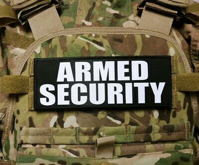 """3x8/"""" SECURITY Black Plate Carrier Patch Tactical Hook Morale Maritime Site"""
