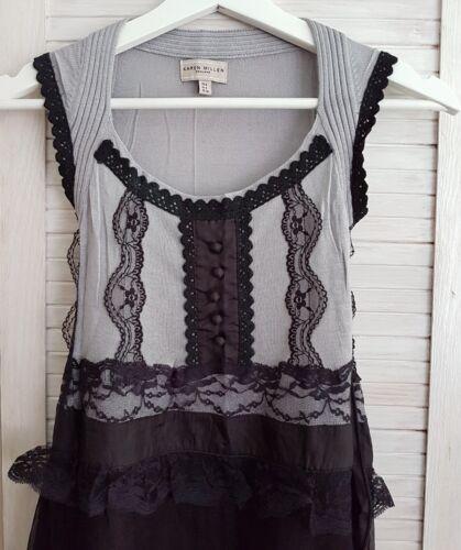 En Taille Karen Uk Soie Millen Dentelle Robe Nouveau 100 Noir Gris 8 C6qwtPdxz