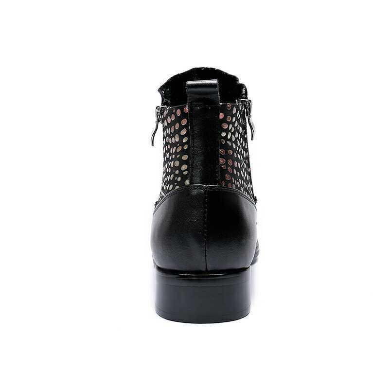 Men's Glitter Ankle stivali Round Toe Block Heels Punk Leather Leather Leather Winter scarpe Dimensione fa5f2e