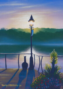 Original Acrylic Painting of River Lamp Post 9x12 Landscape by Timothy Stanford
