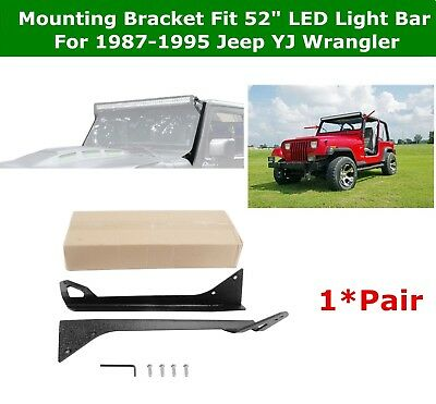 50inch Straight LED Light Bar Roof Mount Brackets Fit 1987-1995 Jeep YJ Wrangler
