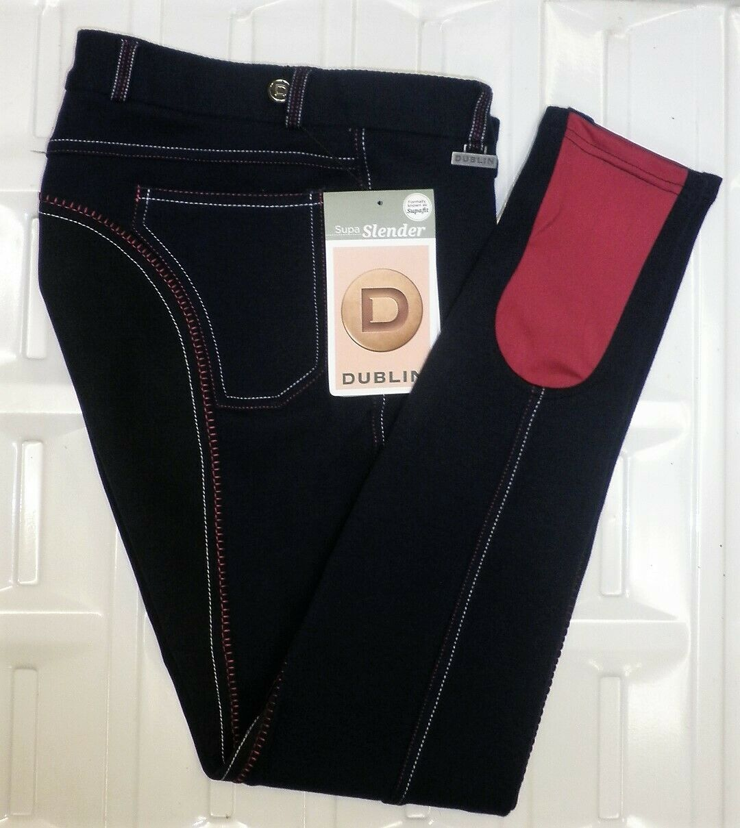 Dublin Supa Slender Full  Seat Fashion Breeches Navy With Pink & White Stitch 26   great selection & quick delivery