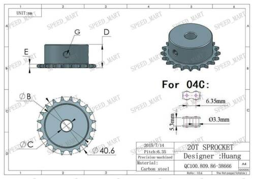 2 PCS 6mm Bore 20 Teeth 20T Metal Pilot Motor Gear Roller Chain Drive Sprocket