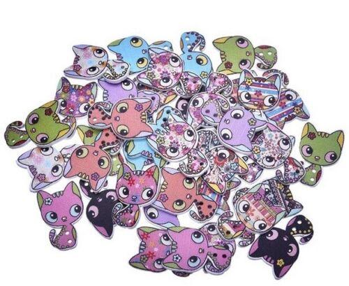 Los botones de Gato Adornos Scrapbook Craft Personalizar Ropa hágalo usted mismo Regalo de la ropa