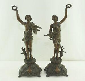 Antique Figurines Paire Falke Fournisseur Pour Pendule à 1880 Laurier Beistell
