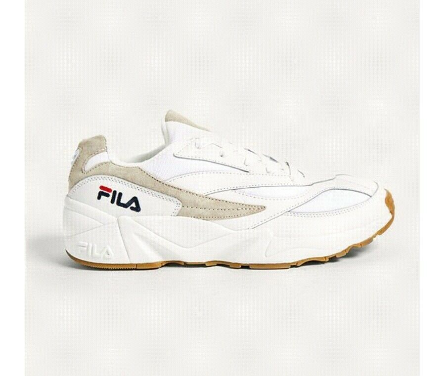New Mens Fila White Venom Leather Trainers Chunky Lace Up