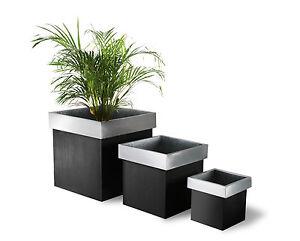 Zinc Cube Planter Plant Pot Garden Patio Outdoor Metal