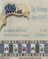 Kidsline Big Wheels Firetrucks Cycles 30 Ft Wall Border New.