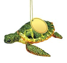 Sea Turtle Blown Glass Christmas Holiday Ornament 5 Inch