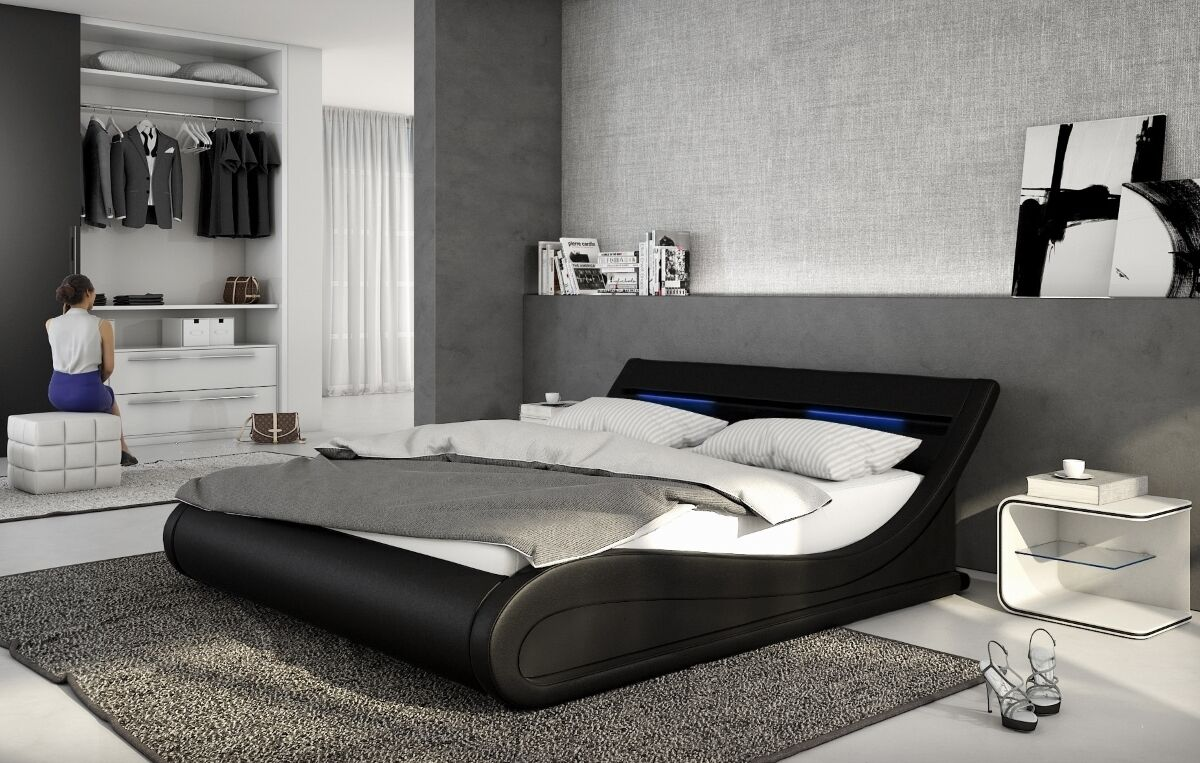 designer luxus lederbett mit led polsterbett gewelltes leder bett schwarz wei ebay. Black Bedroom Furniture Sets. Home Design Ideas