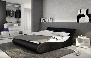 Designer letto in pelle con LED SOGNO IMBOTTITURA Ondulato Nero ...