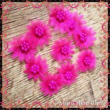 10 X BRIGHT PINK ORGANZA DAISY BEADED FLOWER APPLIQUES HEADBANDS BOW CARD MAKING