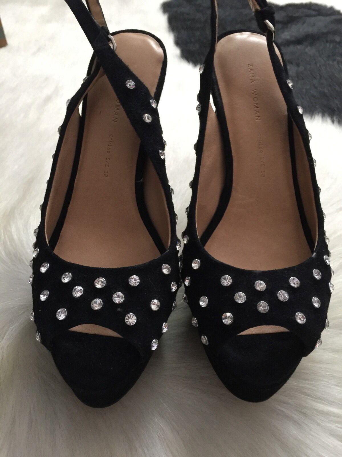 Zara Suede RHINESTONE Platform Heel Sandals Größe 37 = 6.5 6.5 6.5 b86c75