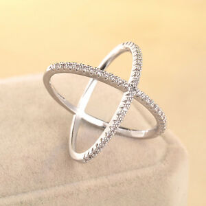 Unique-Women-White-Gold-Filled-X-shaped-Cross-Zircon-Ring-Size-6-7-8-9-Jewelry