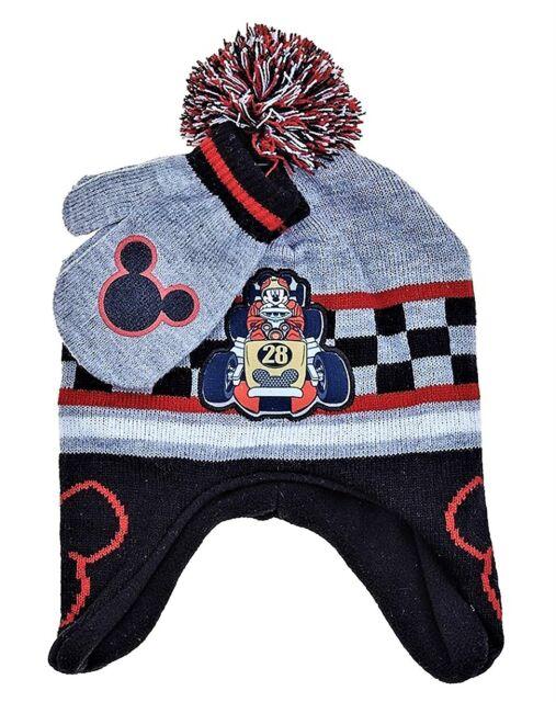 Mickey Mouse Disney Forro Polar Peruano Gorro   Mitones Set con   Pom-Pom 1e7ba4c11c6