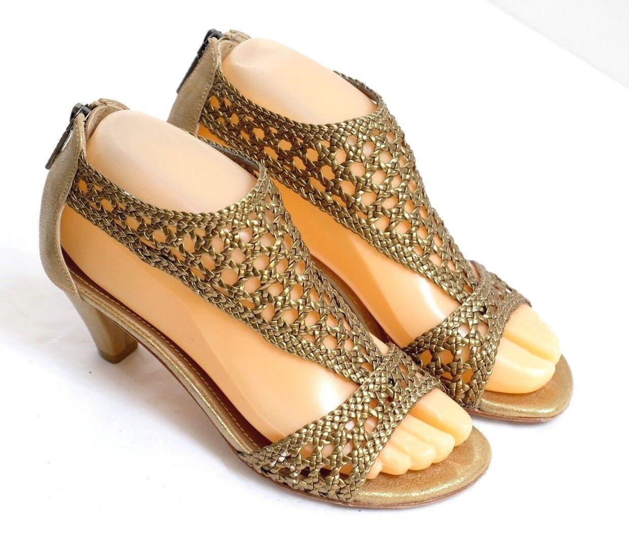 VGUC+ Donald J Pliner Women's Sz 5.5M Antique gold Leather T-Strap Zipper Heels