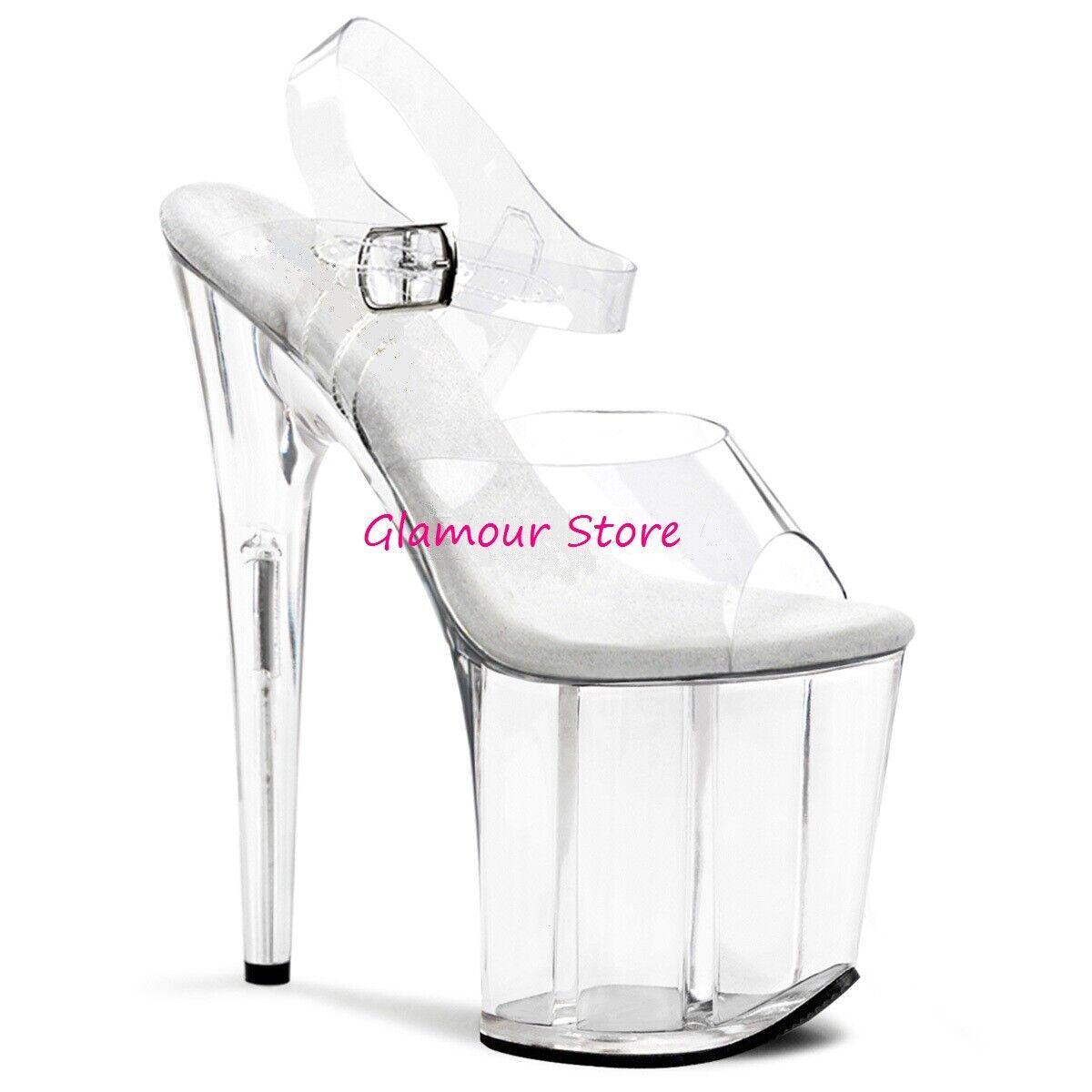 Sexy SANDALI TRASPARENTI tacco 20 dal 35 al 42 plateau cinturino zapatos CLUB
