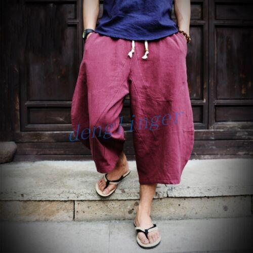 Mens Cotton Linen Retro Loose Harem Pants Sz Casual NEW Trousers Leisure Hot