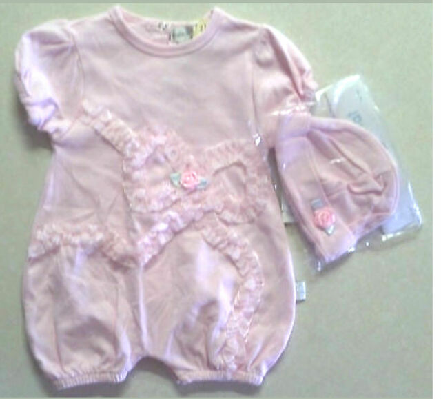 NWT Girl's Size 3-6 M Months Pink Rumble Tumble Pink Ribbon Romper & Hat 2 Pc