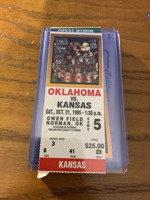 1995 Oklahoma Sooners Kansas Jayhawks Football Ticket Stub ...