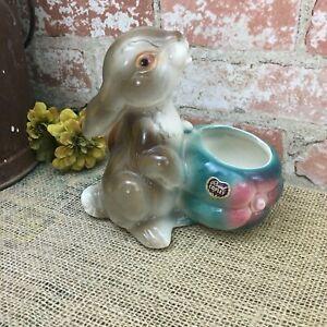 CUTE Vintage Royal Copley Bunny Rabbit Ceramic Vase Planter Brown & Turquoise