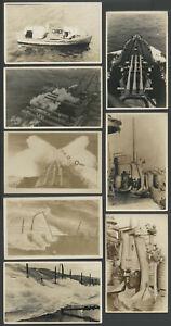Lot-Eight-c-1915-RPPC-Postcards-Unnamed-U-S-BATTLESHIP-GUNS-DECK-BOAT-More