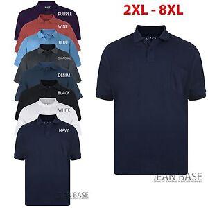 Kam New Big Mens King Sizes Basic Plain Polo Neck T-Shirt Tee 2XL 3XL 4XL 5XL 6XL 7XL 8XL
