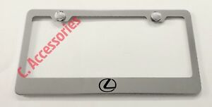 Lexus-Logo-F-Sport-Stainless-Steel-Metal-Chrome-License-Plate-Frame