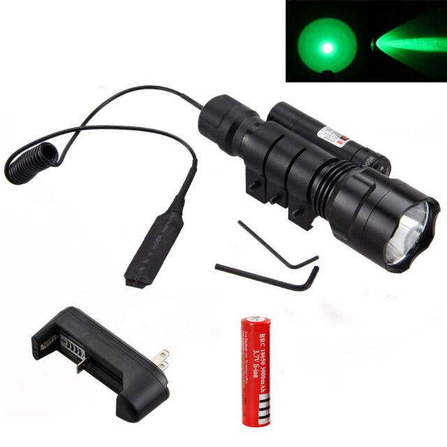 Red Dot Sight+4000Lm XML Q5 GREEN Light LED Tactical Flashlight Gun Mount Light