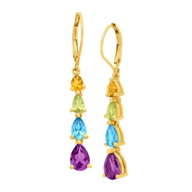 3ct Pear-Cut Natural Citrine, Peridot, Swiss Blue Topaz & Amethyst Drop Earrings