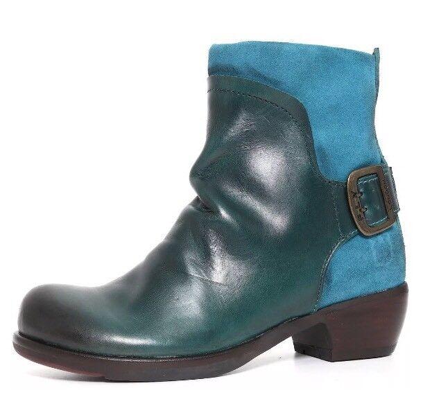 Fly London Mel Leather Boots Petrol Women Sz 36