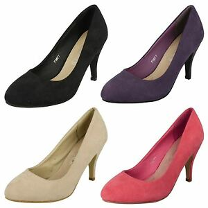 LADIES-SPOT-ON-SYNTHETIC-SUEDE-HEEL-SLIP-ON-PROM-EVENING-COURT-SHOES-SIZE-F9677